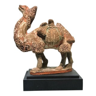 Tang Dynasty (618-907 Ad) Painted Pottery Camel For Sale