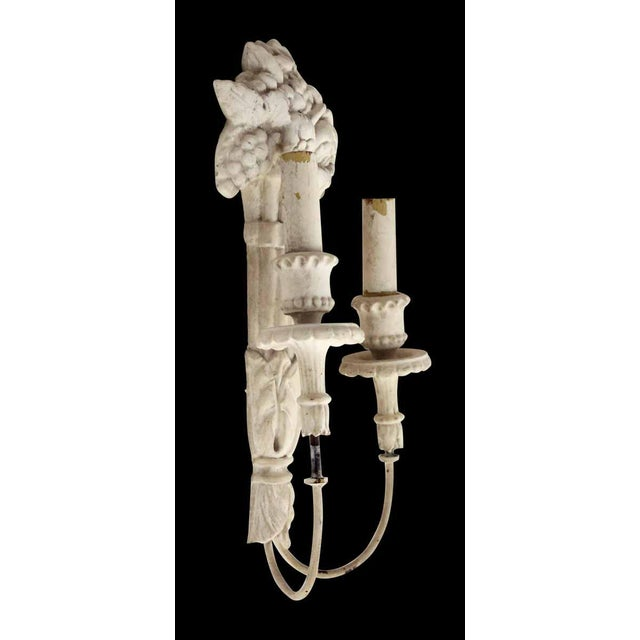 White Wood Sconces With Cornucopia Motif - A Pair For Sale - Image 9 of 11