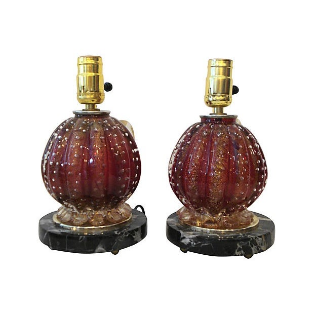 Italian Barovier & Toso Glass Lamps - A Pair For Sale - Image 3 of 6