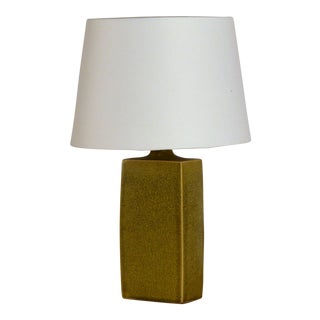 Glazed Ceramic Lamp With Parchment Shade For Sale