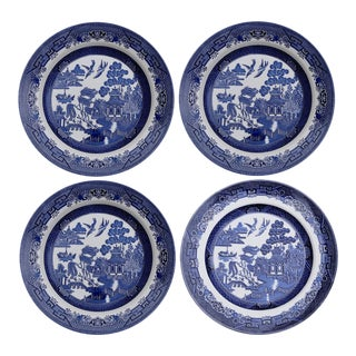 English Blue & White Transferware Plates, Set of 4
