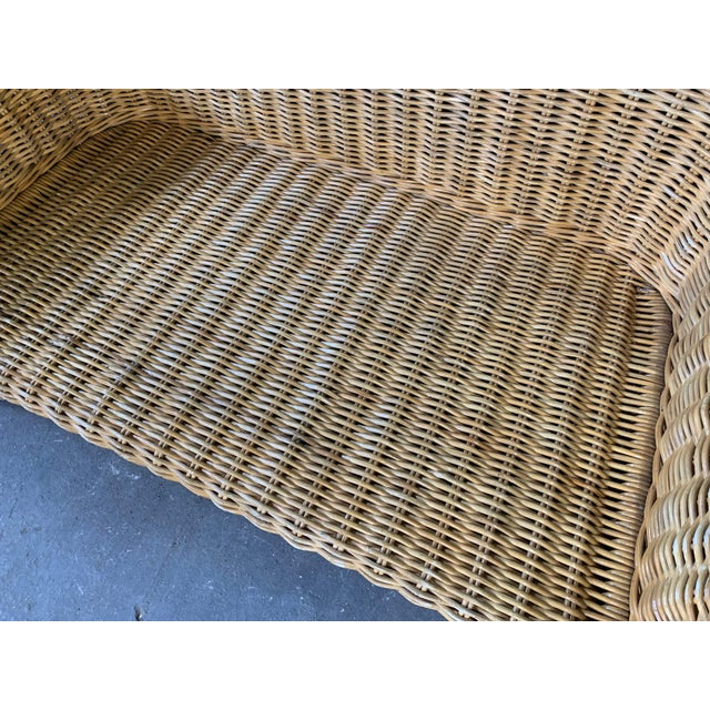 Wicker Sculptural Wicker Sofa in the Manner of Michael Taylor For Sale - Image 7 of 11