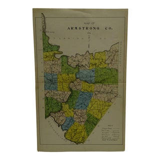 Vintage Rand McNally 1911 Color Map of Armstrong County Pennsylvania