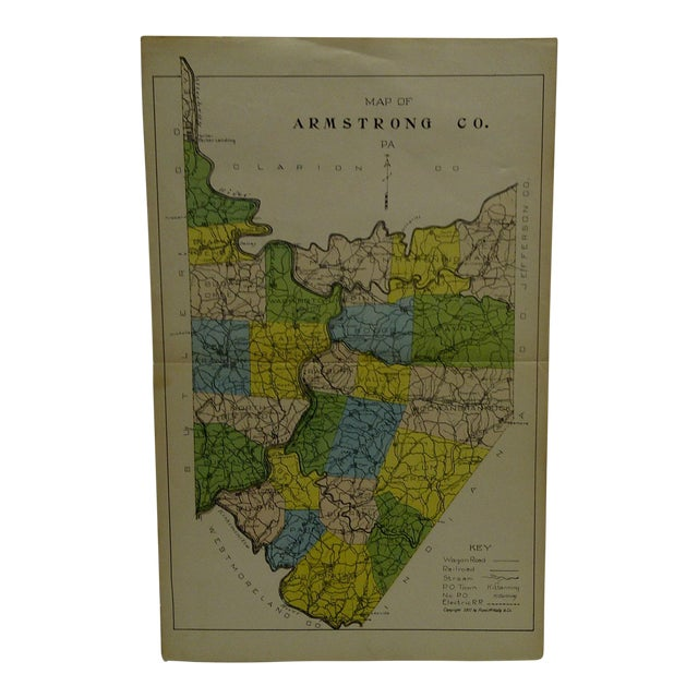 Vintage Rand McNally 1911 Color Map of Armstrong County Pennsylvania For Sale