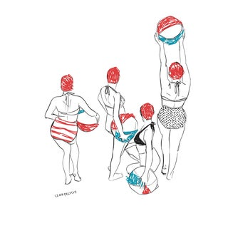 """Beach Day"" Contemporary Minimalist Figurative Print For Sale"