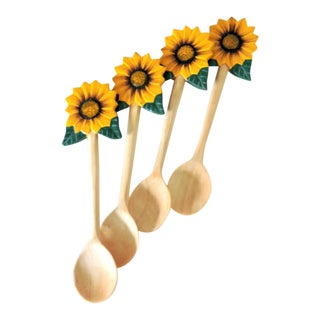 Hand Carved & Painted Sunflower Spoons - Set of 4 For Sale