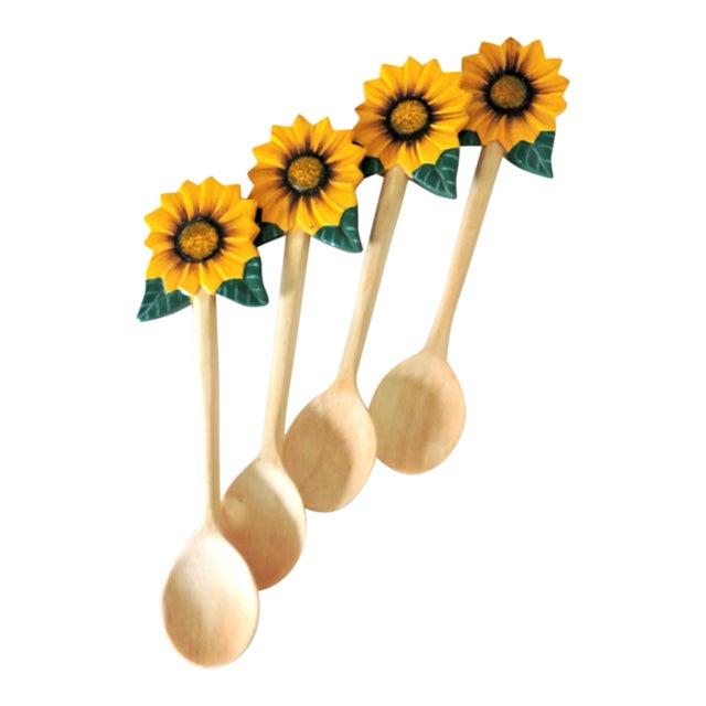 Vintage Hand Carved Summer Sunflower Spoons - Set of 4 For Sale