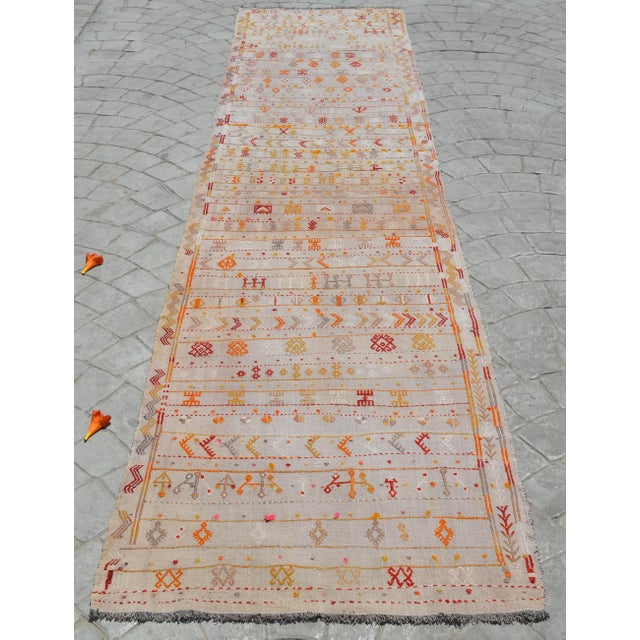 1940s Antique Handmade Kilim Runner Rug Masterwork Cotton Jajim Hallway Decor - 2′9″ × 11′9″ For Sale - Image 5 of 12