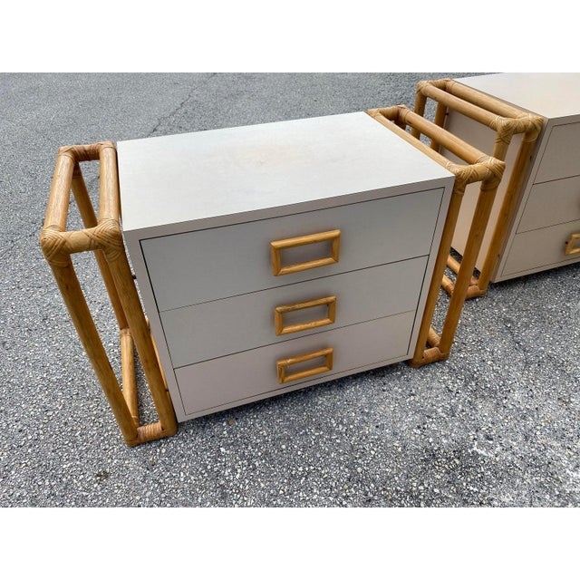 A super sharp pair of matching floating chests or night stands from the 1970s. The are very well made and feature laminate...