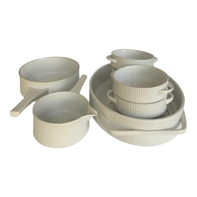 Vintage Mid Century Modern White Ribbed Cordalite Cookware Set - 9 Pieces For Sale