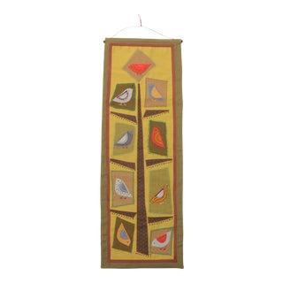 Mid-Century Christmas Tree Banner With Birds For Sale