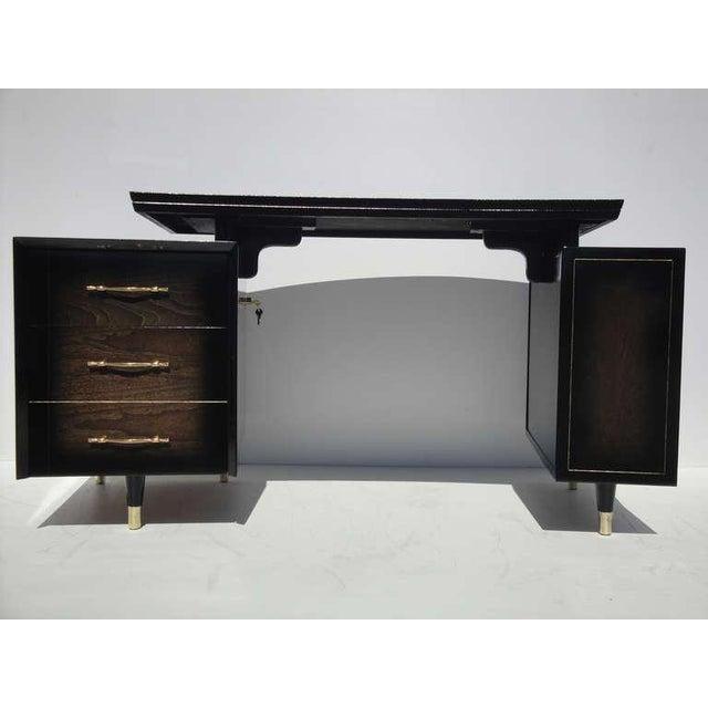 1960s Mid Century Modern Curved Partner Desk For Sale - Image 4 of 11