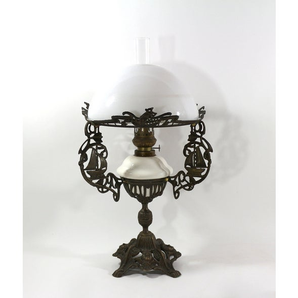 Brass & Milk Glass 1880s Sailing Ship Lamp - Image 2 of 6