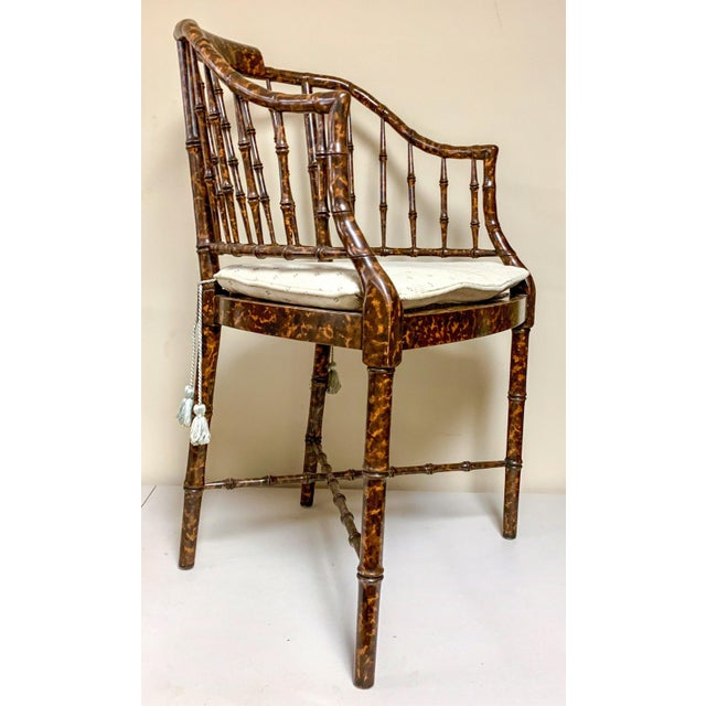 Wood Baker Furniture Faux Tortoise Barrel Back Chairs-Pair For Sale - Image 7 of 9
