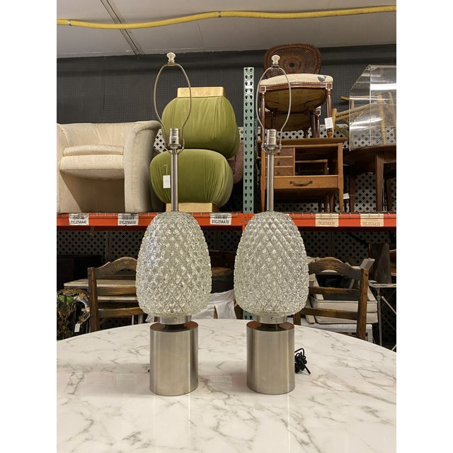 60s Pressed Glass Lamp - a Pair For Sale - Image 10 of 13