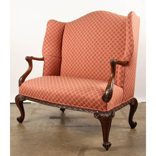 Finely Carved English Victorian Upholstered Settles - Image 4 of 8