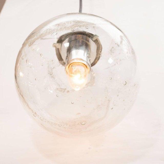 Mid-Century Modern Pair of Mid-Century Modern Handblown Smoked Globe Pendants by Doria Leuchten For Sale - Image 3 of 5
