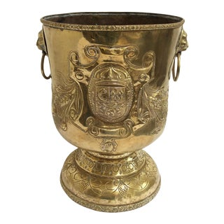 18th C. Brass Repousse Jardiniere For Sale