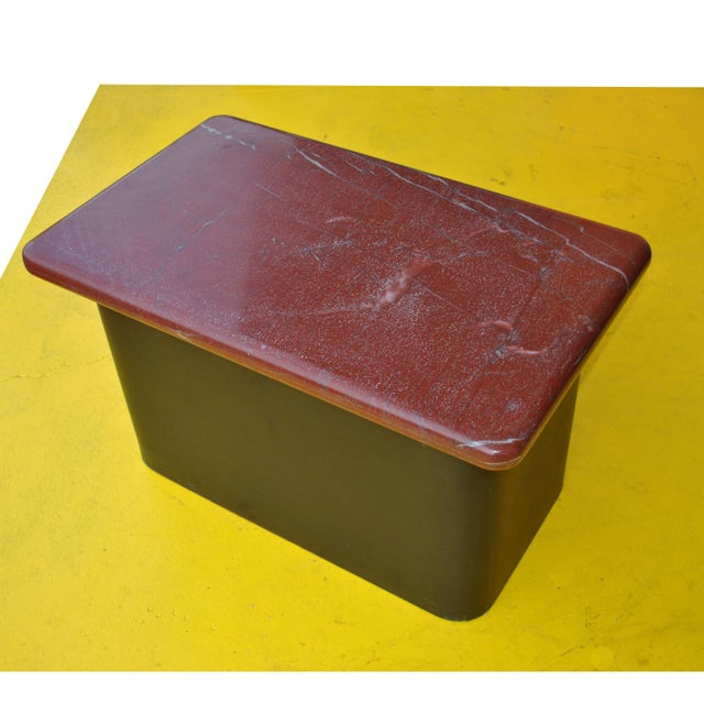 Modern Pair of Red Marble and Wood Side End Tables For Sale - Image 3 of 6