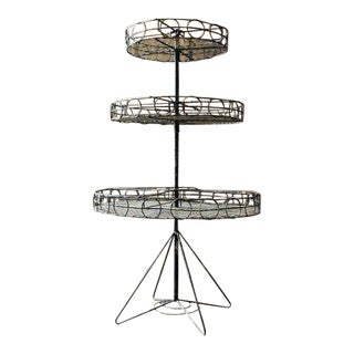 Antique Three Tiered Rotating Metal Rack Store Display For Sale
