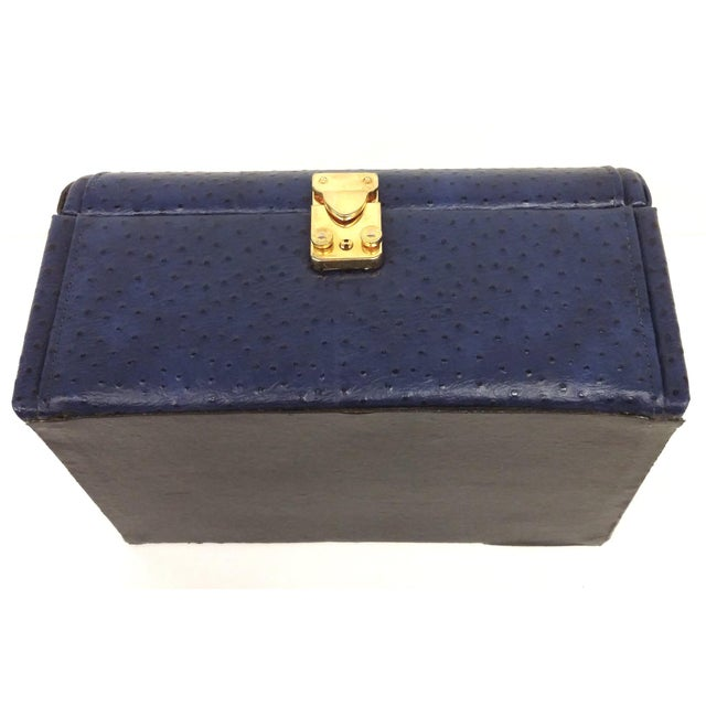 Vintage Ostrich Leather Jewelry Travel Case - Image 10 of 10