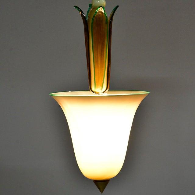Metal Vintage Venini Murano Glass Pendant Fixture For Sale - Image 7 of 9