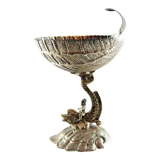 Sterling Silver Gilt Dolphin Shell Compote Master Salt – 1950 For Sale