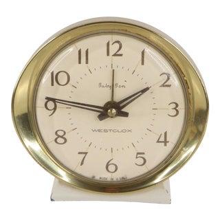 Vintage 1970s Mid Century Modern Westclox Baby Ben Gold Bedside Alarm Clock, Usa For Sale