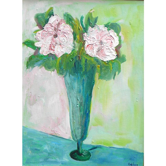 Bright and vibrant oil painting on canvas. The painting is of a beautiful bouquet of flowers in a sculptural vase. All of...