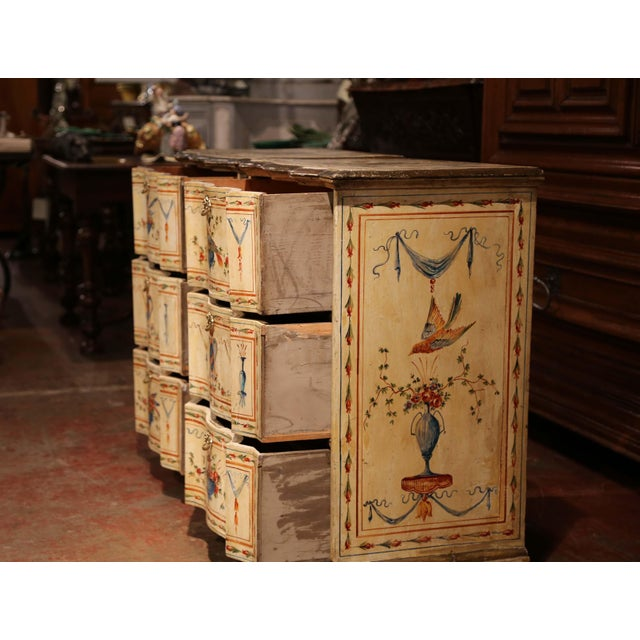 Blue 19th Century Italian Carved Chests of Drawers With Bird Painted Decor - a Pair For Sale - Image 8 of 13