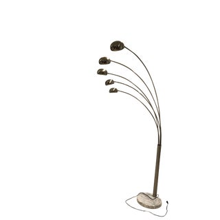 Chrome Five Arm Floor Lamp With Marble Base For Sale
