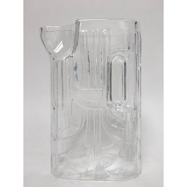 Modern Art Deco Revival Oblong Glass Pitcher For Sale - Image 4 of 11