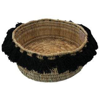 Moroccan Black Tassel Small Basket For Sale