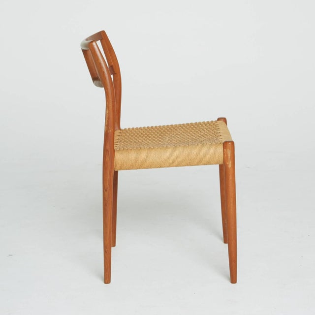 Danish Modern Teak and Woven Cord Chair by Niels Moller For Sale - Image 3 of 5