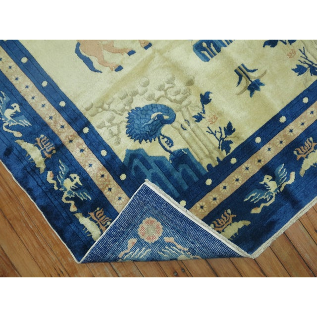 Textile Antique Chinese Pictorial Elephant Rug, 4'9'' X 7'8'' For Sale - Image 7 of 13