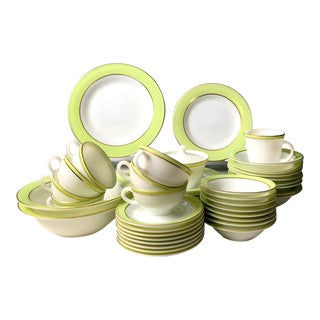 Pyrex Lime Green & White Dinnerware - Set of 57