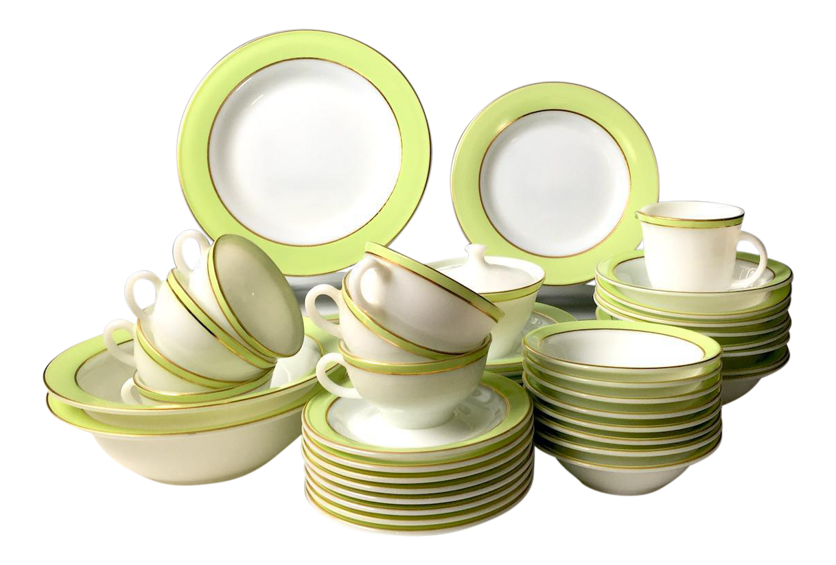 Pyrex Lime Green u0026 White Dinnerware - Set of 57  sc 1 st  Chairish : lime green dinnerware - pezcame.com