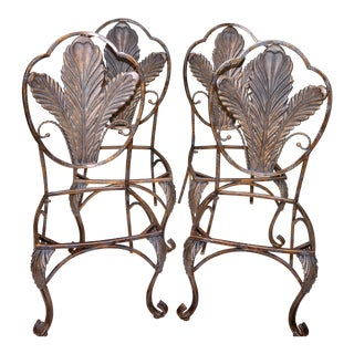 Bronze Finish Wrought Iron Indoor Outdoor Chairs - Set of 4 For Sale
