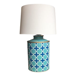 Turquoise Tea Caddy Lamp For Sale