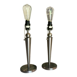 1990's Mid Century Vintage Style Chrome Lamps- A Pair For Sale