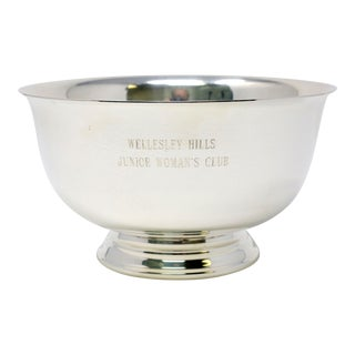 1970 Vintage Paul Revere Silver Plate Trophy Bowl Wellesley Hills Junior Women's Club For Sale