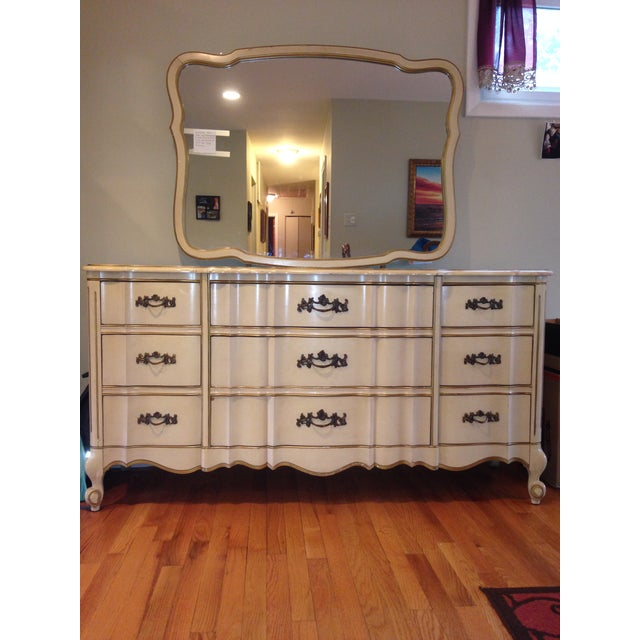 Vintage French Provincial Kent Coffey Gold White Dresser Mirror
