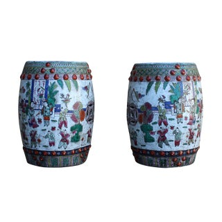 Chinese Round Porcelain Garden Stools - A Pair