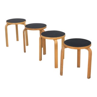 "Late 20th Century Alvar Aalto ""Model 60"" Stools With Black Top - Set of 4 For Sale"