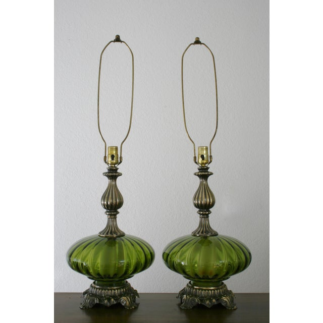 Metal Vintage Green Glass Nightlight Table Lamps - a Pair For Sale - Image 7 of 7