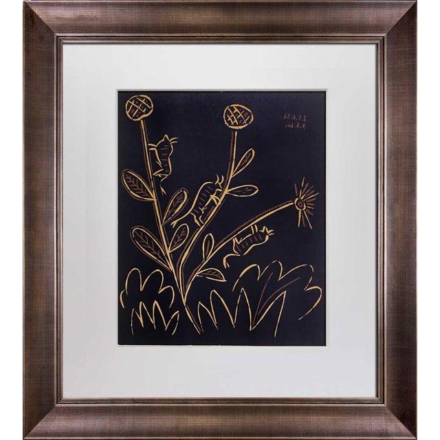 """1960s Vintage Pablo Picasso """"Plante Aux Toritos"""" Linocut Print For Sale"""