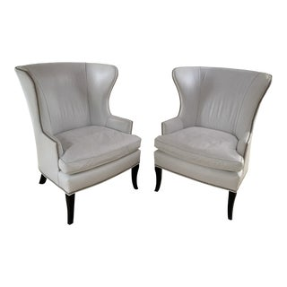 White Leather Wingback Chairs- a Pair For Sale