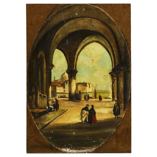 Beautiful scenes of 17th c Italy. Incredible depiction of architecture and use of perspective. Unique oval shaped...