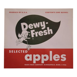 Bold Graphic Apple Crate Label Lithograph For Sale