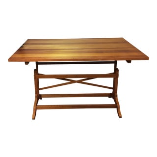 Mid-Century Solid Wood Drafting Table For Sale